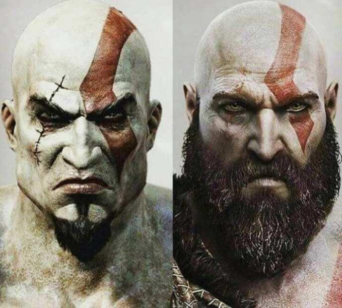 A gauche, le profil de Kratos lors des 6 premiers titres, A droite l'actuel métamorphosé
