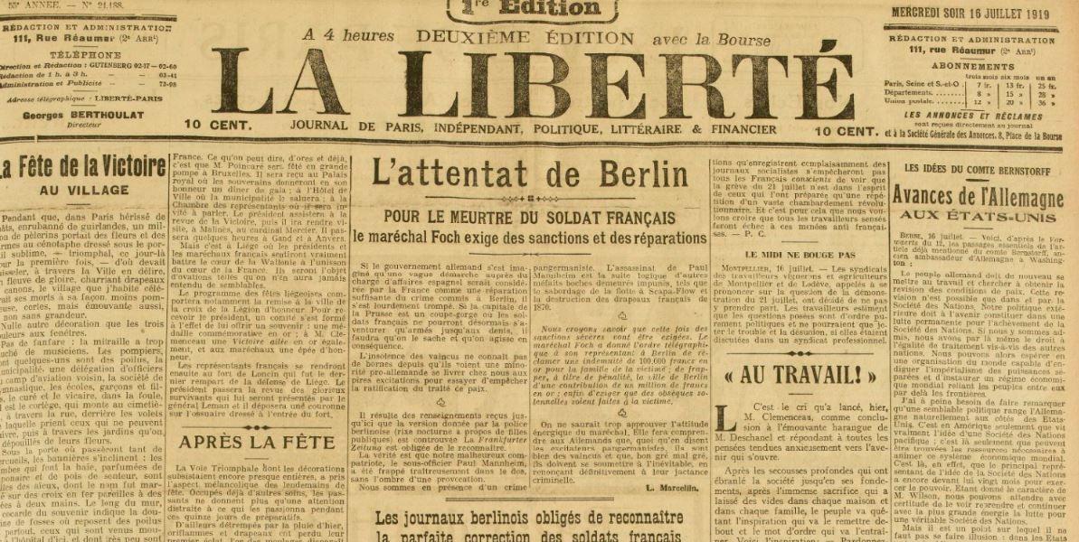 L'actualité il y a cent ans