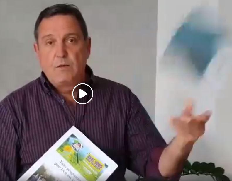 A la fin  de sa vidéo Jean-Louis Suau jette le programme de l'autre liste... vidéo à visionner sur le site du candidat (photo capture d'écran)