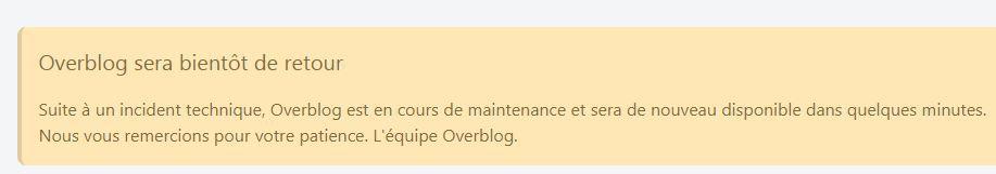 Message reçu de la plateforme overblog