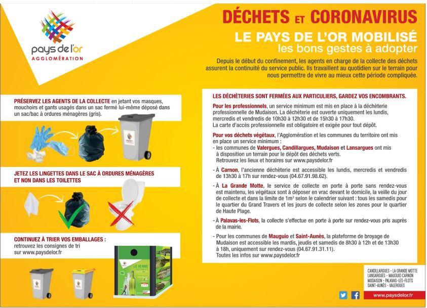 Pays de l'Or: déchets et coronavirus