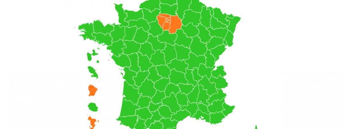 La France passe au vert mais Mayotte, Guyane et Île de France en orange