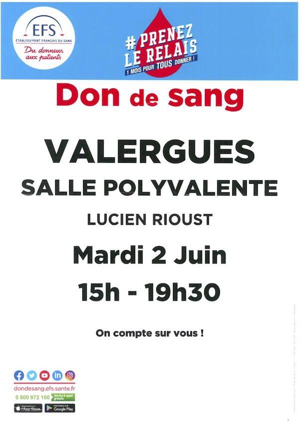 Don du sang: le 2 juin salle Lucien Rioust