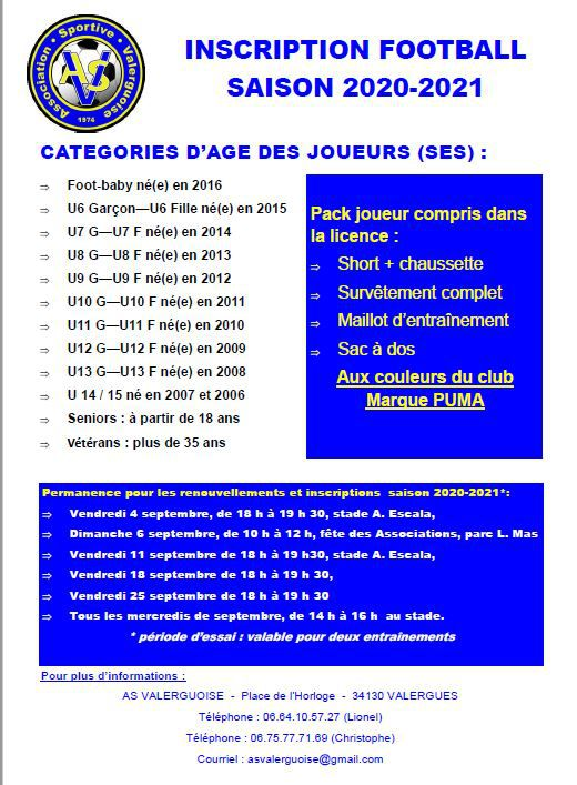 Inscriptions football saison 2020/2021