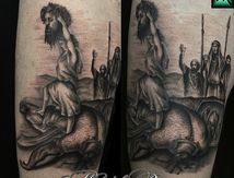 Tatouage David et Goliath inspiration Gustave Doré par Muriel Renou à Cris tattoo 83