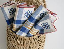 Lot de 4 serviettes brodées BB Années 70 - Vintage