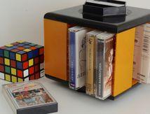 Porte cassettes Girandola Jaune Années 70 - Vintage