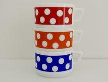 Tasses à café Polka en arcopal Années 70- Vintage