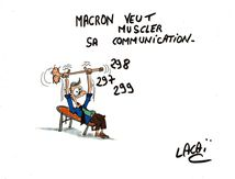 dessin macron veut muscler sa communication...