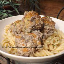 Boulettes de poulet avec sa sauce champignons- Polpettes-  IG bas