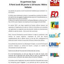 Abrogation loi travail : meeting unitaire régional à Paris le 30 janvier