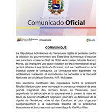 Le Venezuela rejette et condamne les sanctions américaines contre son président