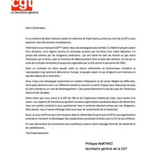 Fidel : message de la CGT aux syndicats cubains