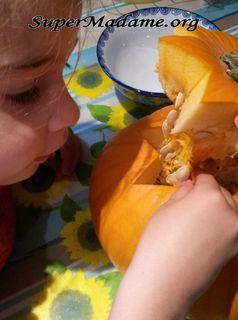 soupe d'Halloween citrouille-châtaigne