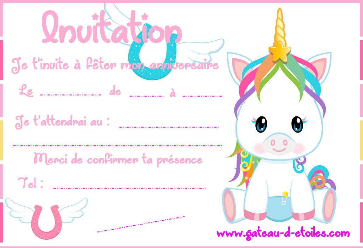 Carte D Invitation Gratuite Bebe Licorne Leblogdegateaudetoiles