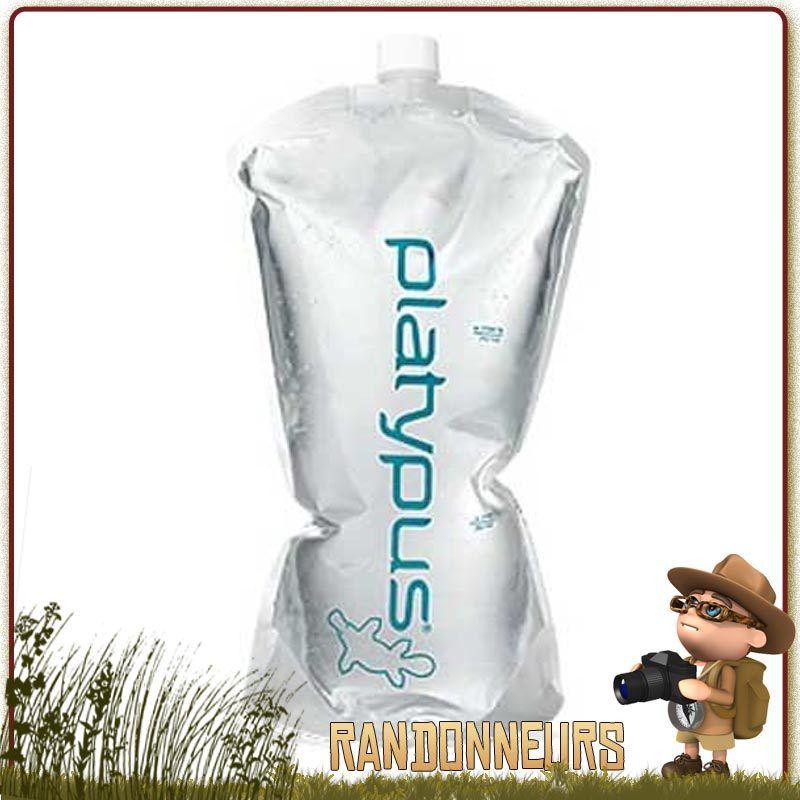 Gourde Platy 2 litres Platypus, mixt réervoir d'eau et gourde randonnée