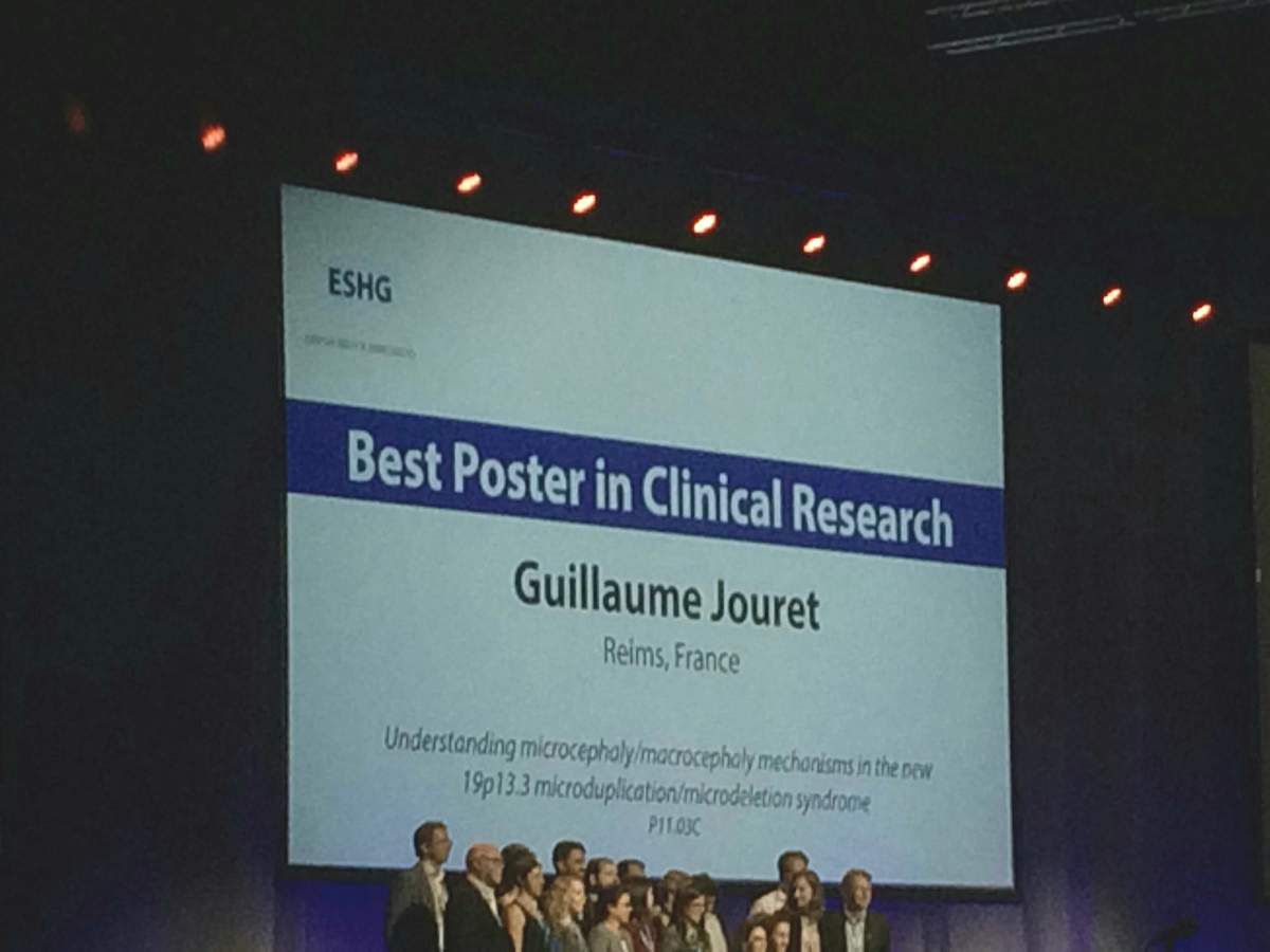 ESHG Poster Award « Best Clinical Research », Guillaume JOURET