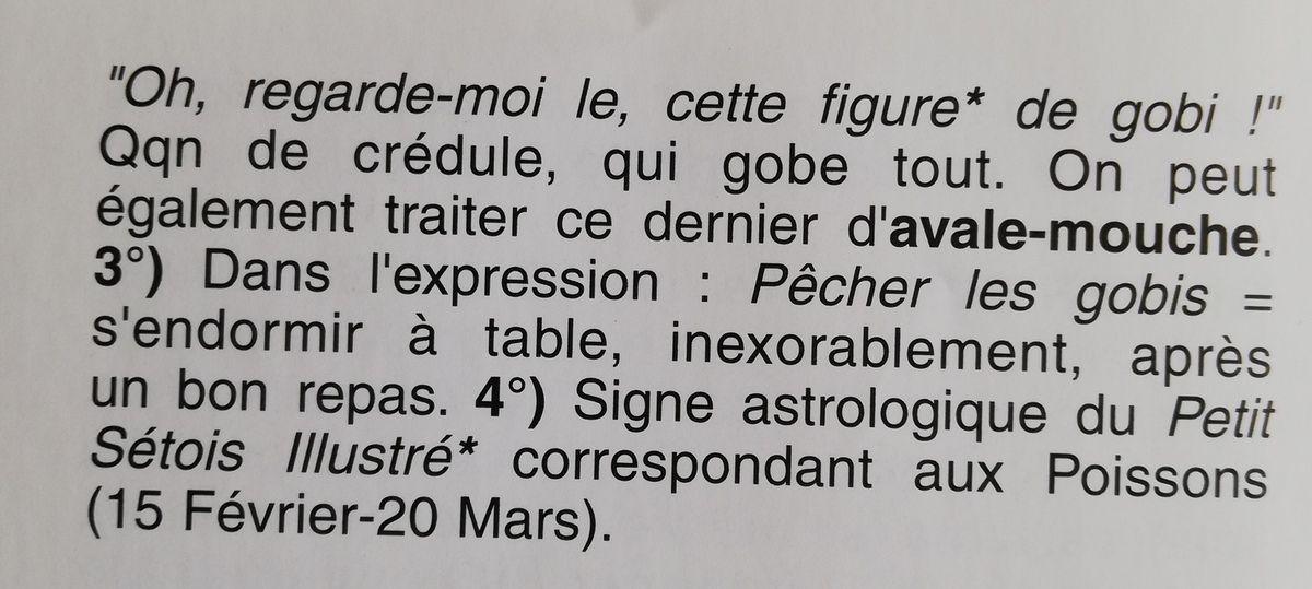 Gobi, avale bouchon,attrape mouche, Raymond coves,, Pierre François