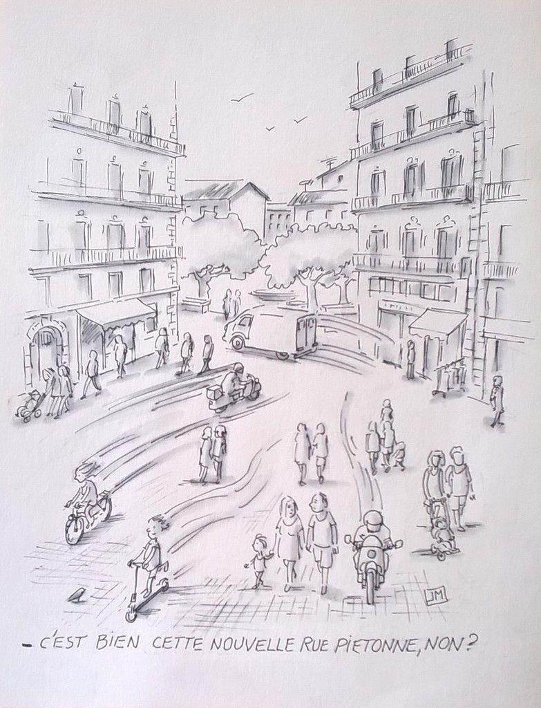 sete, halles, marché, rue pietonne, joël monnier,