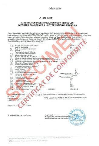 Certificat de Conformité: Qu'est-ce que c'est le Certificat de Conformité?      Le Certificat de Conformité est le document fourni par la division homologation de la marque constructeur attestant ainsi la conformité qu'un véhicule à la réglementation européen et permet donc son immatriculer en France grâce à son numéro de réception communautaire.    Le service de Certificat de Conformité Euro Conformité vous délivre le certificat de conformité de votre véhicule.    Dans quel cas a-t-on besoin du Certificat de Conformité ?    Le Certificat de Conformité ou COCest indispensable pour toute demande d'immatriculation dans les cas suivants:    Véhicule importé pour être immatriculer en France Véhicule français pour être immatriculer dans un autre pays étranger Véhicule français dont la carte grise ou plaque constructeur comporte des erreurs de numéro de châssis Véhicule français qui sera transformé   Ainsi le certificat de conformité permet donc d'effectuer plusieurs formalités d'un véhicule qu'il soit étranger ou français.    Il facilite la demande d'immatriculation d'une voiture, une moto, un camping-car, un camion ou un utilitaire importé en France et permet l'obtention de la carte grise française sans passer par une réception à titre isolé.    Qui a besoin du Certificat de Conformité?    Certificat de Conformité: Qu'est-ce que c'est le Certificat de Conformité?      Le Certificat de Conformité est le document fourni par la division homologation de la marque constructeur attestant ainsi la conformité qu'un véhicule à la réglementation européen et permet donc son immatriculer en France grâce à son numéro de réception communautaire.    Le service de Certificat de Conformité Euro Conformité vous délivre le certificat de conformité de votre véhicule.    Dans quel cas a-t-on besoin du Certificat de Conformité ?    Le Certificat de Conformité ou COCest indispensable pour toute demande d'immatriculation dans les cas suivants:    Véhicule importé pour être immatriculer en Fran