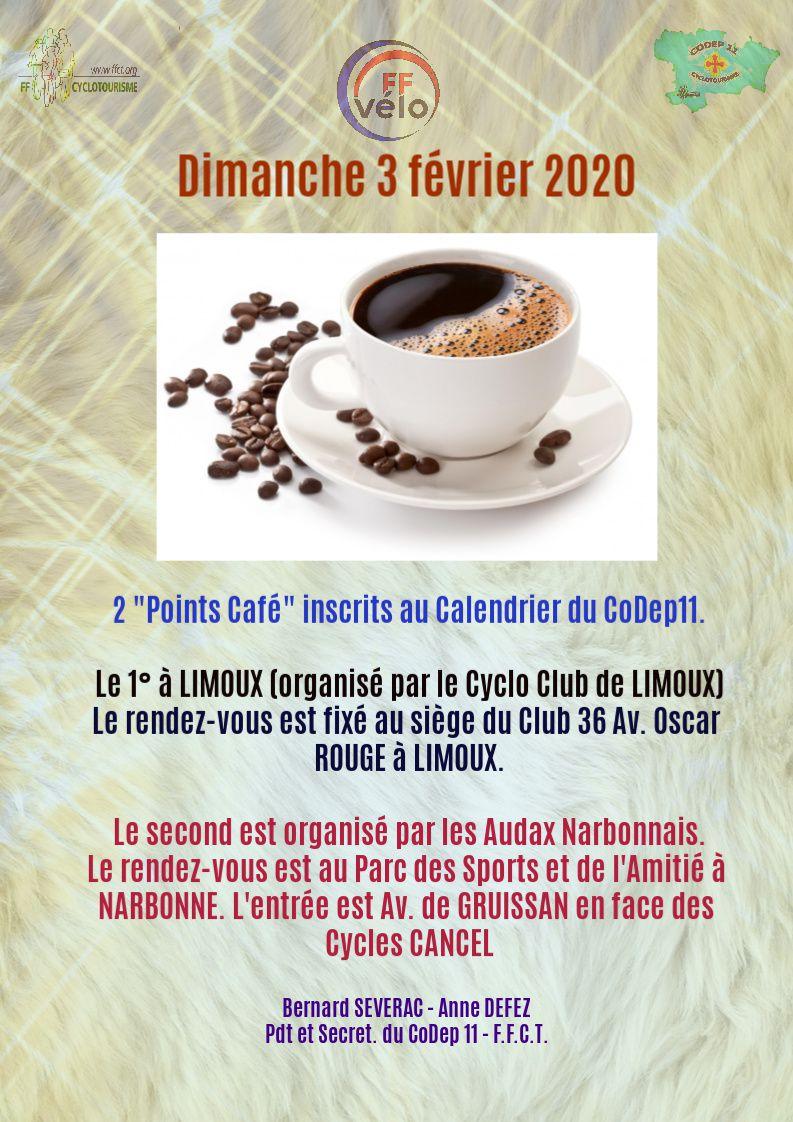 Dimanche 3 février : Point Café à LIMOUX et NARBONNE