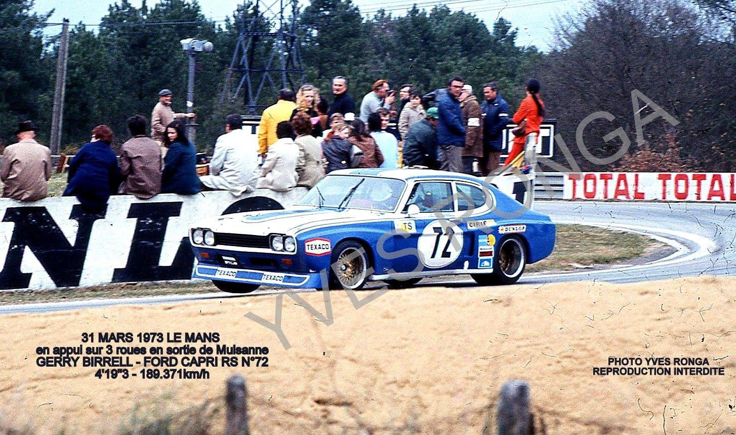Ford Capri LV Gerry Birrell Essais Préliminaires des 24 Heures du Mans 1973.