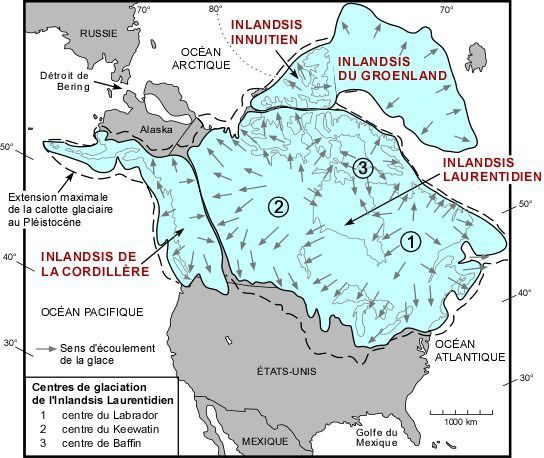 Laurentide ice sheet il y a environ 15000 ans.