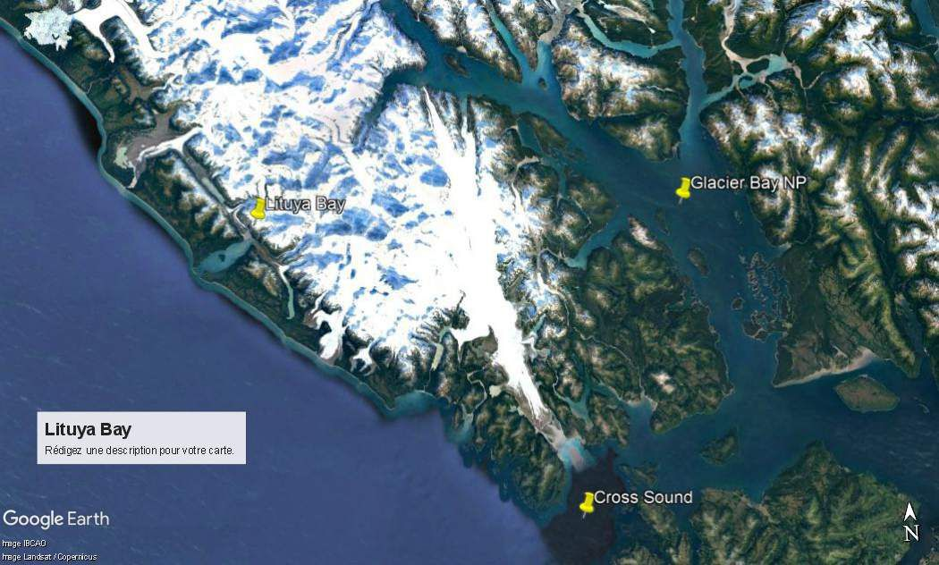 Glaciers Bay National Park et Lituya Bay. Lituya Bay est incluse dans le grand parc national de Glaciers Bay