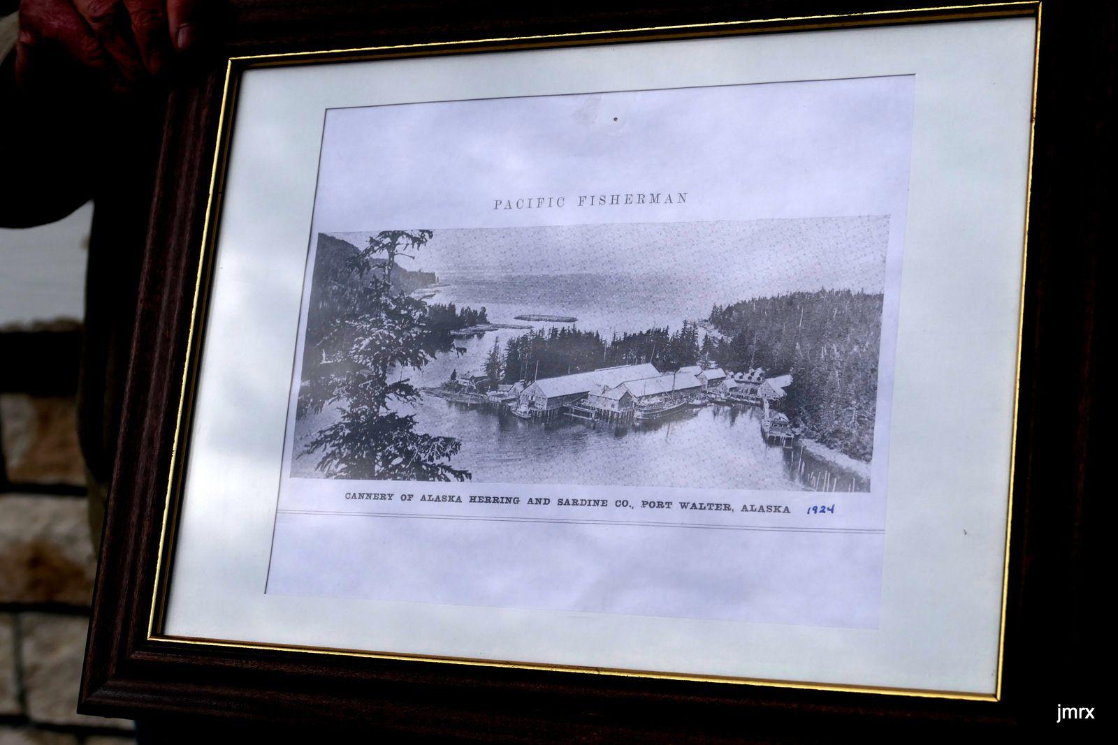 La hatchery de Port Walter (Sud Baranov côte Est). Raymond tente de déchiffrer le numéro de marquage d'un saumon (le biologiste parait inquiet)! Une énorme conserverie se trouvait sur cette pointe il y a  moins d'un siècle: tout a disparu. Le temps a fait son oeuvre.