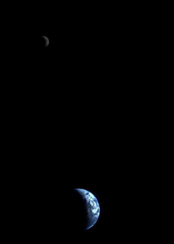 Crescent-shaped Earth and Moon (NASA/JPL)
