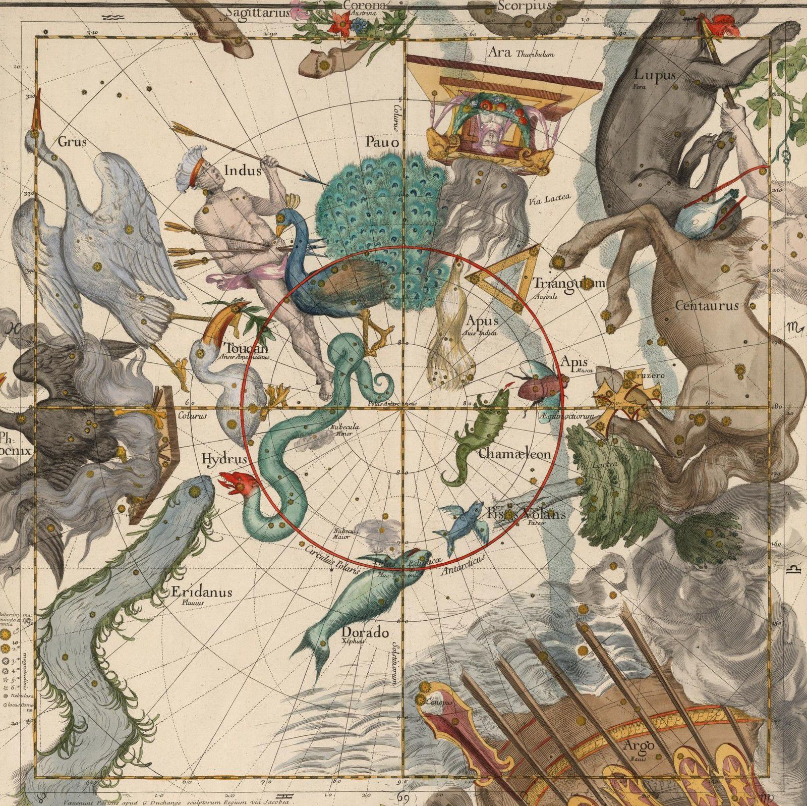 Plate 6: Centaurus, Indus, Chamaeleon and other constellations by Ignace Gaston Pardies, 1636-1673
