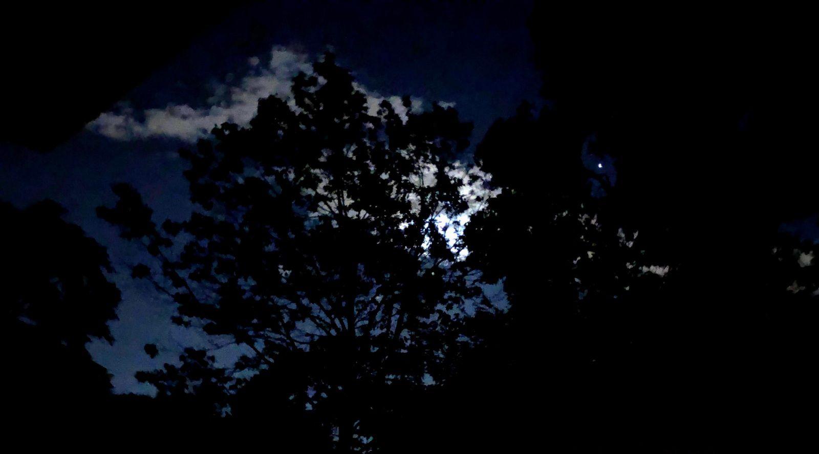 Moon hidden behind clouds