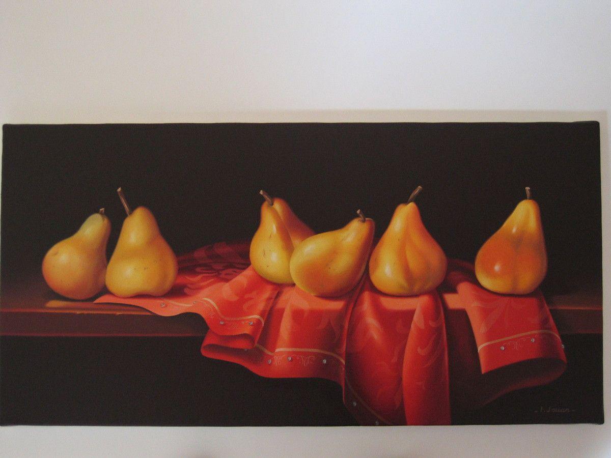 Poires, peinture à l'huile, 30 x 60
