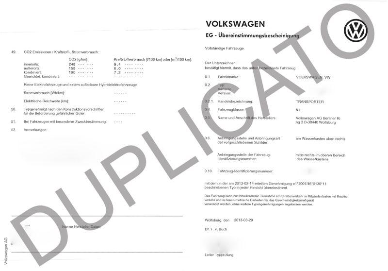 Certificat de Conformite Européen COC Volkswagen