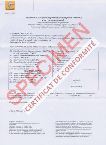 Certificat de Conformité Renault à commander en ligne gratuitement