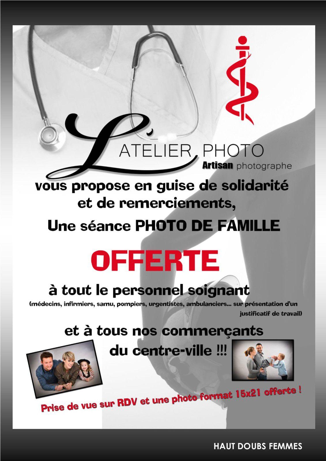 Séance photo offerte pour tous les soignants et commerçants du centre-ville de Pontarlier !