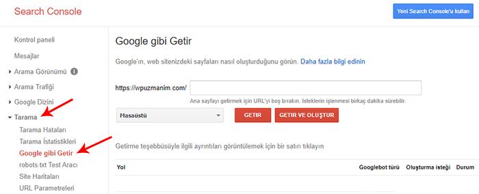 Google Gibi Getir Aracı Kullanımı