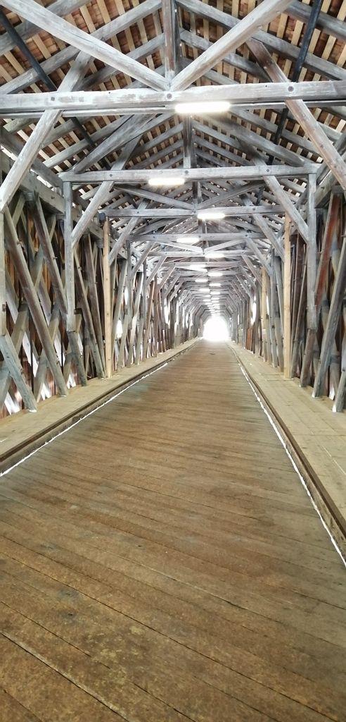 Pont  de bois qui reliait le Liechtenstein avec la Suisse, traversant le Rhin