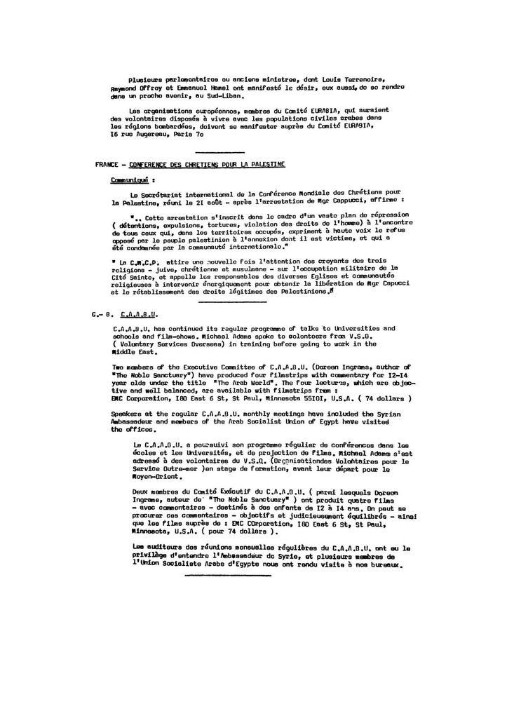Eurabia - bulletin N°25 - Sept 1974