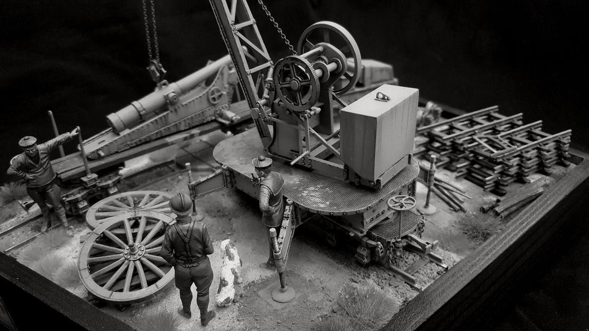 Grue Magnard, locotracteur à pétrole Campagne, wagon Péchot, canon De Bange de 120mm