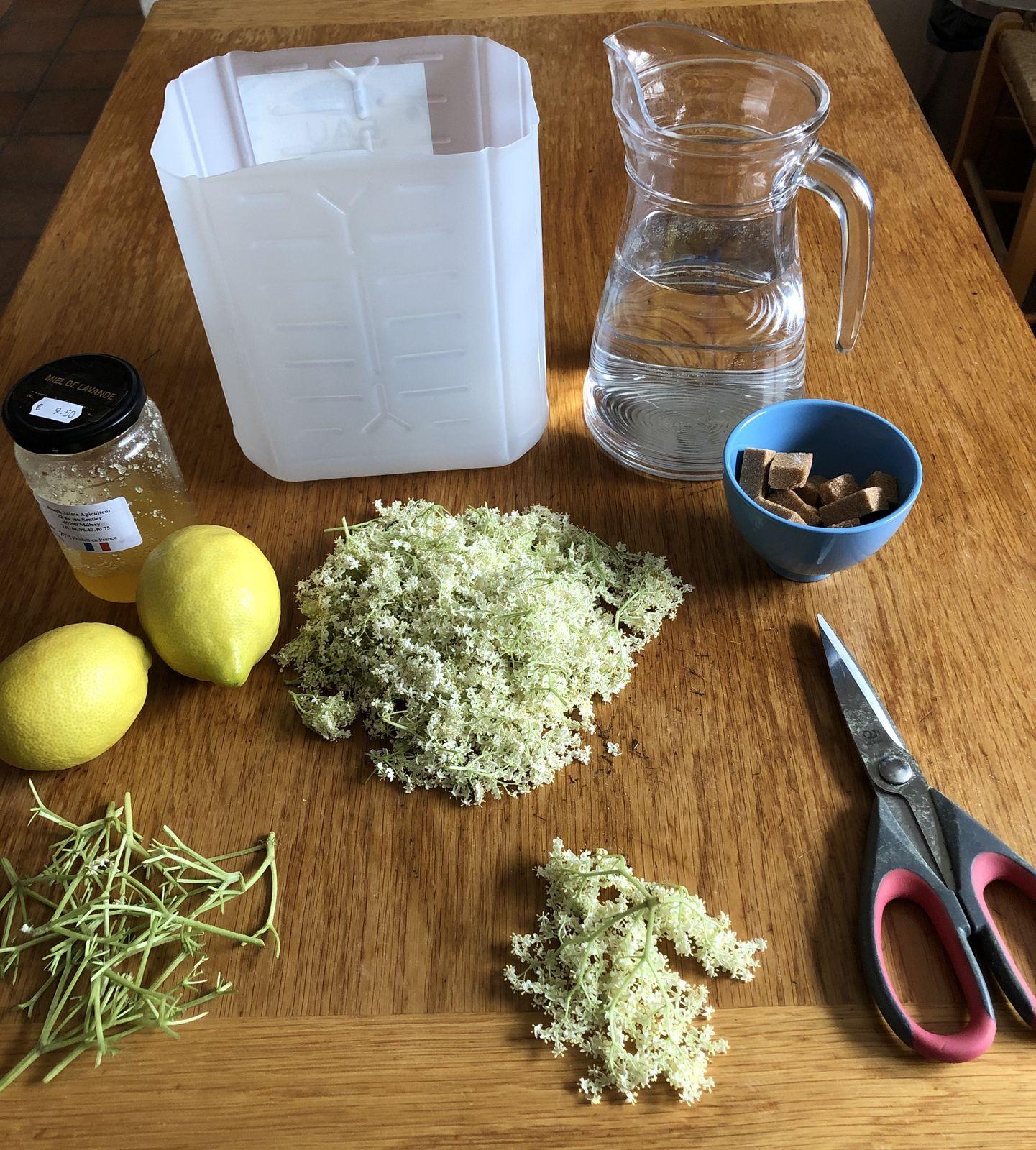 Matériel: 1 bidon (type alimentaire) de 2 litres, 1 paire de ciseaux, 1 cuillère à soupe, 1 verre doseur de 1 litre. Ingrédients pour 2 litres d'eau: 15 corymbes de sureau cueillies à pleine fleur, 2 citrons bio, 8 cuillères à soupe de miel pur ou de sucre de canne brun.