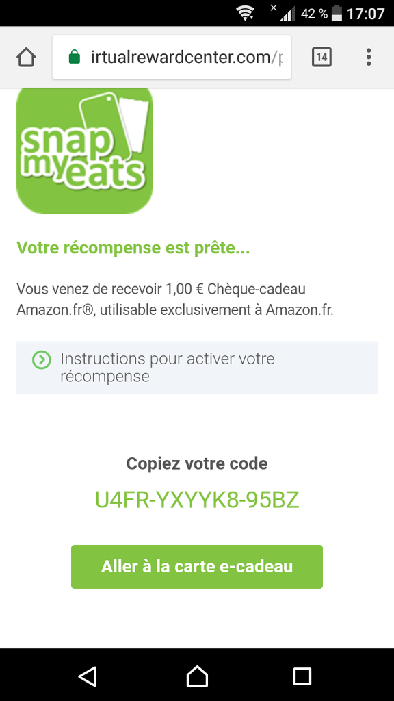 snapmyeats application amazon missbonsplansdunet carte cadeaux code cadeau