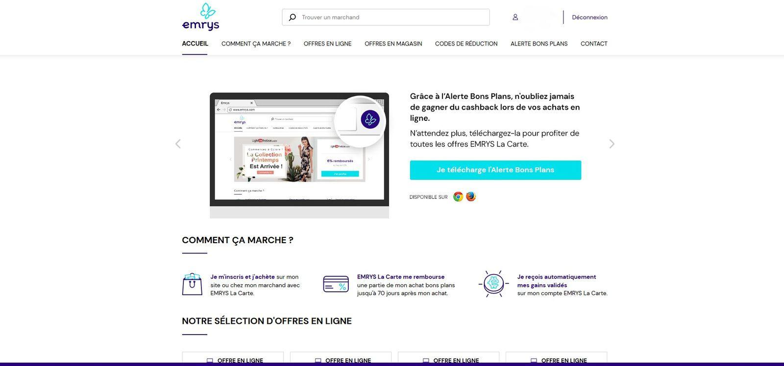 accueil site marchand emrys Effectuer un achat missbonsplansdunet