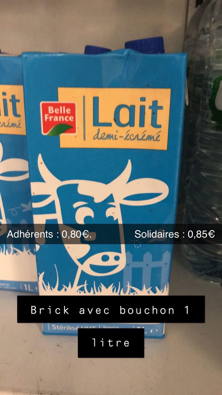 Brick lait 1L demi-écrémé (DLUO OK)