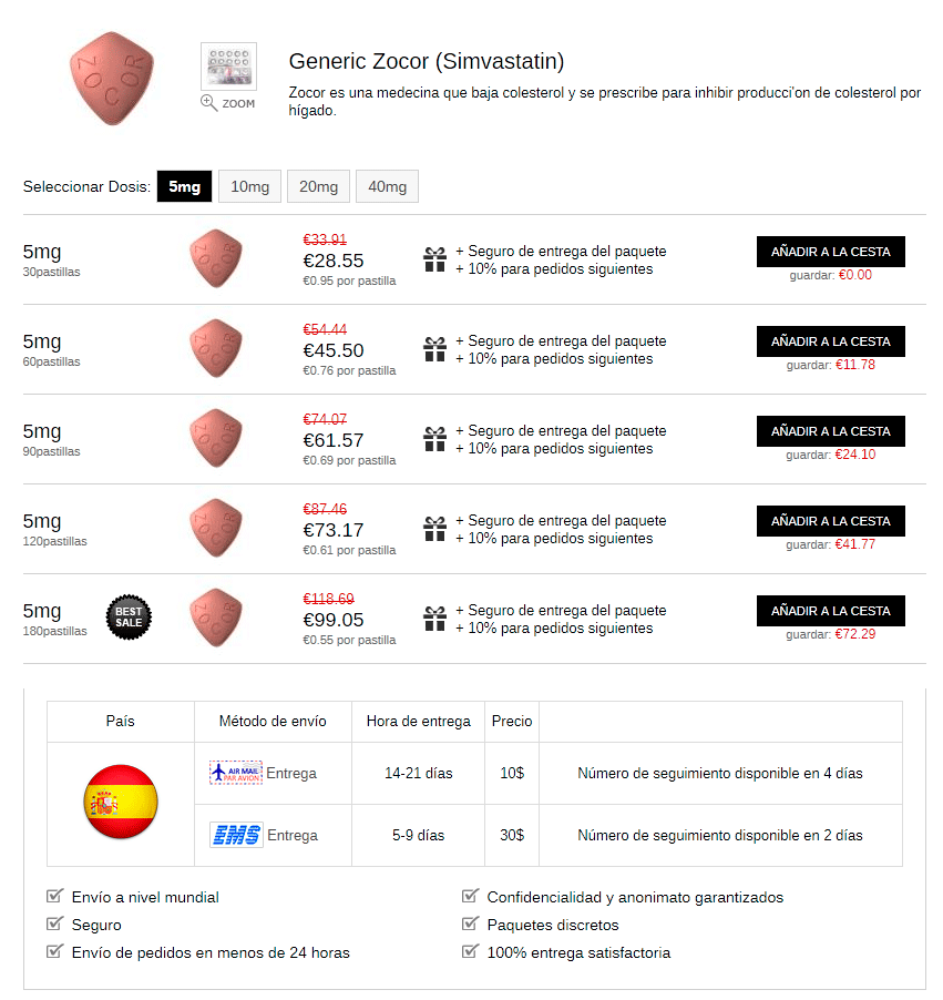 Zocor Simvastatina 5-10-20-40 Mg