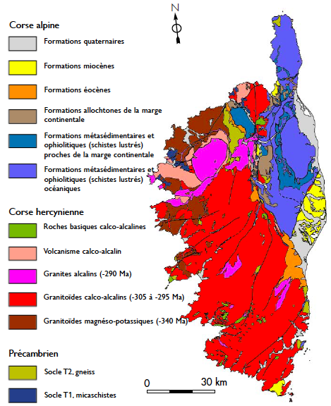 Figure 2. Carte géologique simplifiée de la Corse et légende associée (illustration : J. Delmotte, d'après Rossi, 2000).