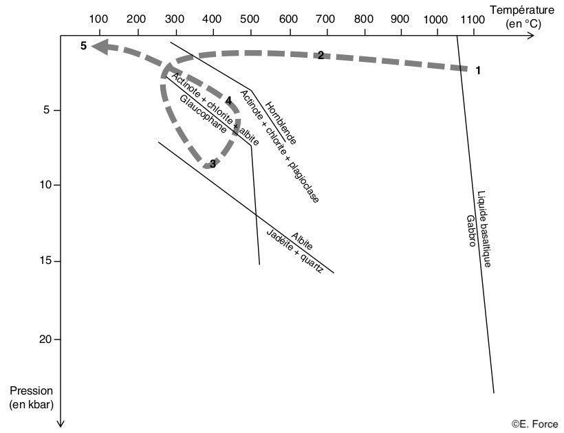 Figure 8. Chemin P-T de l'échantillon de métagabbro du Queyras (illustration : E. Force, d'après C. Nicollet, 2019).