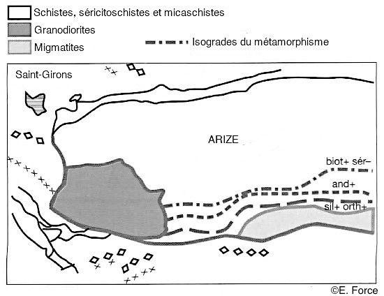 Figure 13. Schéma simplifié de la carte géologique de Saint-Girons au 1/50 000 (illustration : E. Force, d'après J.-Y. Daniel et al., Sciences de la Terre et de l'Univers, 2015).