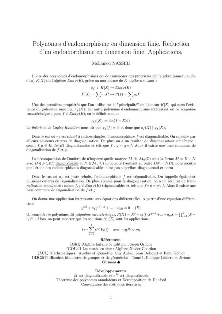 153 - Polynômes d'endomorphisme en dimension finie. Réduction d'un endomorphisme en dimension finie. Applications.
