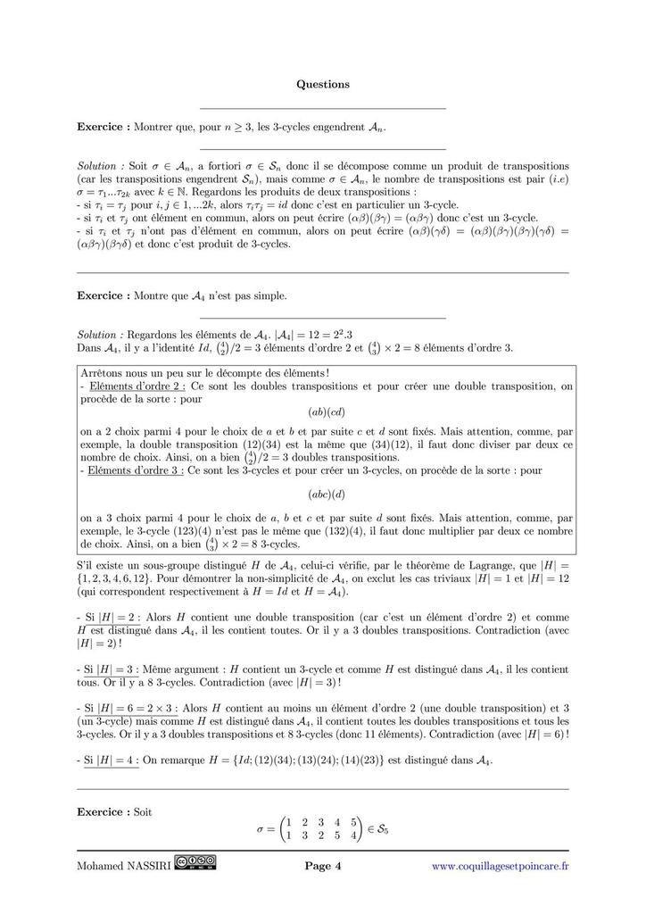 105 - Groupe des permutations d'un ensemble fini. Applications.